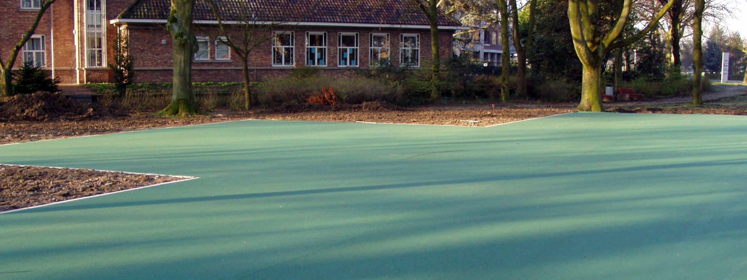 Groen asfalt in park